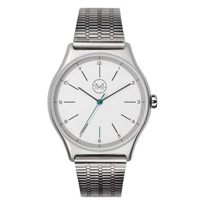 01 - slim made one 01 - thin wrist watch in silver with metal band - front