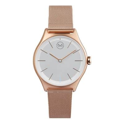 slim made two 03 - thin wrist watch in rose gold with rose gold metal mesh band - 01